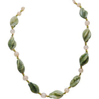 "Vintage Beaded Necklace_Twisted Spinach Jade_Round Agate Beads_24""_60.9 cm Long"