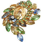 Vintage Gold Plated Multi-Color Crystal Rhinestone Prong Set Floral Brooch Pin
