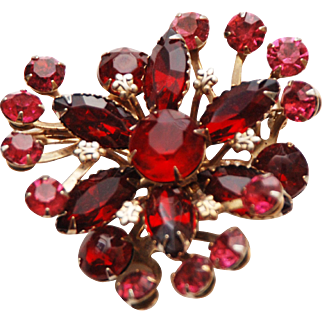 Vintage Red + Pink Rhinestone Crystal Prong Set Brooch Pin