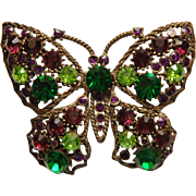 Vintage Large Butterfly Brooch Pin Purple and Green Crystal Rhinestones