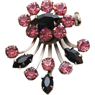 Vintage Pink + Black Prong Set Crystal Rhinestone Brooch Pin