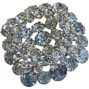 Vintage Brooch Pin with Light Blue Prong-Set Crystals