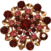 Vintage Retro Brooch with Red and Pink Faceted Prong-Set Crystal Rhinestones