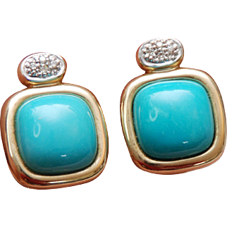 14 Karat Yellow Gold, Pave Diamond and Blue Turquoise Pierced Earrings