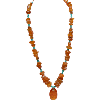 Natural Baltic Amber and Chinese Blue Turquoise Nugget Necklace w/ Large Amber Pendant