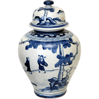 Vintage Blue and White Asian Porcelain Ginger Jar with Figural Landscape Design