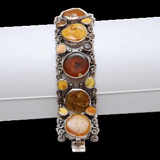 Jan Pomianowski Large Chunky Amber + Sterling Silver Sculpted Artisan Bracelet