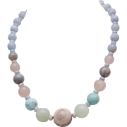 Peruvian Opal_Nephrite Jade_Larimar_Rose Quartz_Chalcedony Beaded Necklace