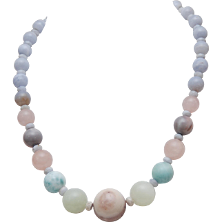 Peruvian Opal_Nephrite Jade_Larimar_Rose Quartz_Chalcedony Beaded Necklace