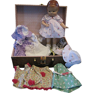Patsy 14 inches Composition Doll with Trunk and 4 Extra Outfits