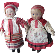 Two Russian Cloth Dolls from 1940's