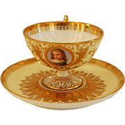 Ambrosius Lamm Dresden Demitasse Cup HP Portrait Raised Gold