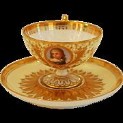 Ambrosius Lamm Dresden Demitasse Cup HP Portrait Raised Gold
