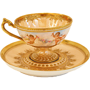 Ambrosius Lamm Dresden Demitasse Cup with Cherubs HP Raised Gold