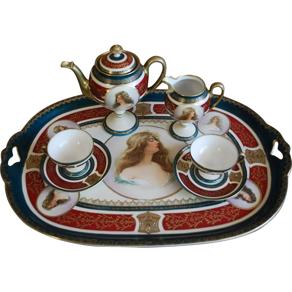Antique Austrian Royal Vienna Style Porcelain Portrait Tete-a-Tete Tea Coffee Set on the Tray