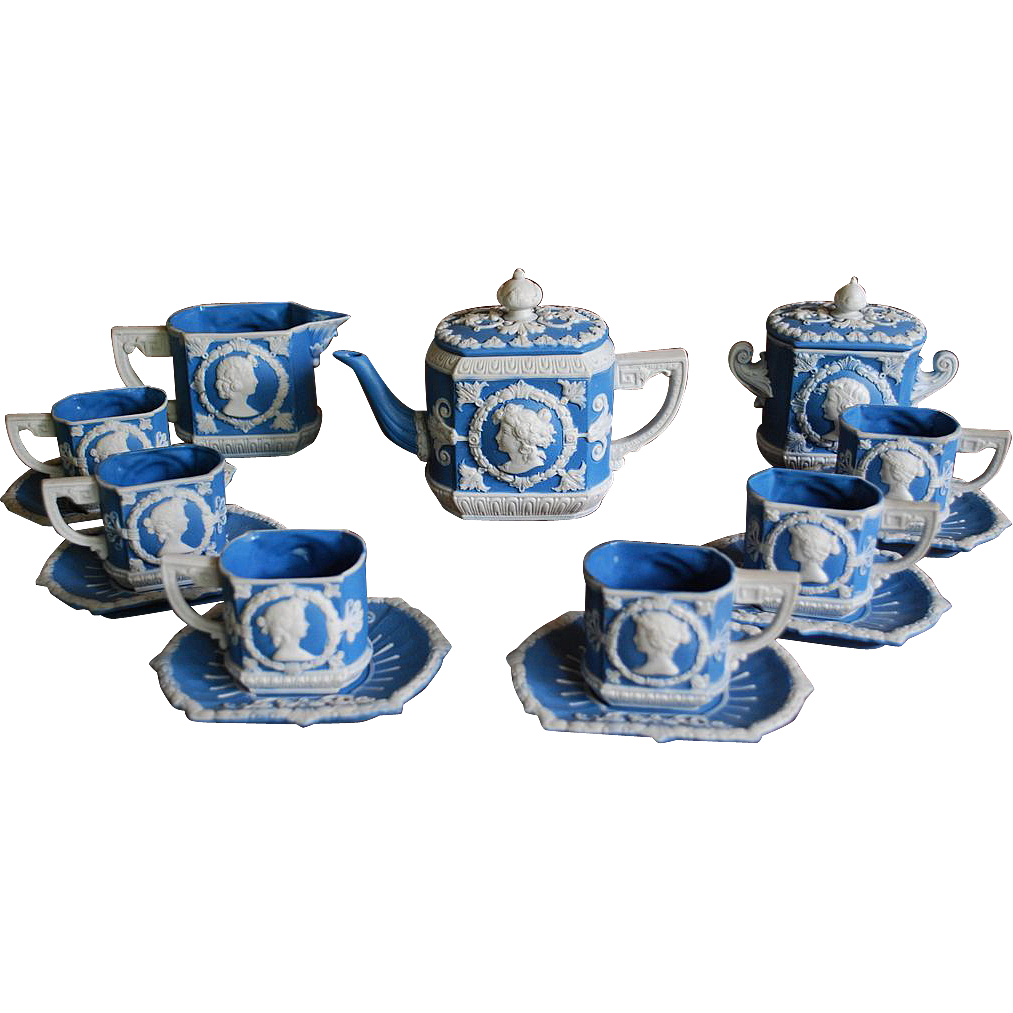 Antique Jasperware  Coffee Set  by Schafer and Vater