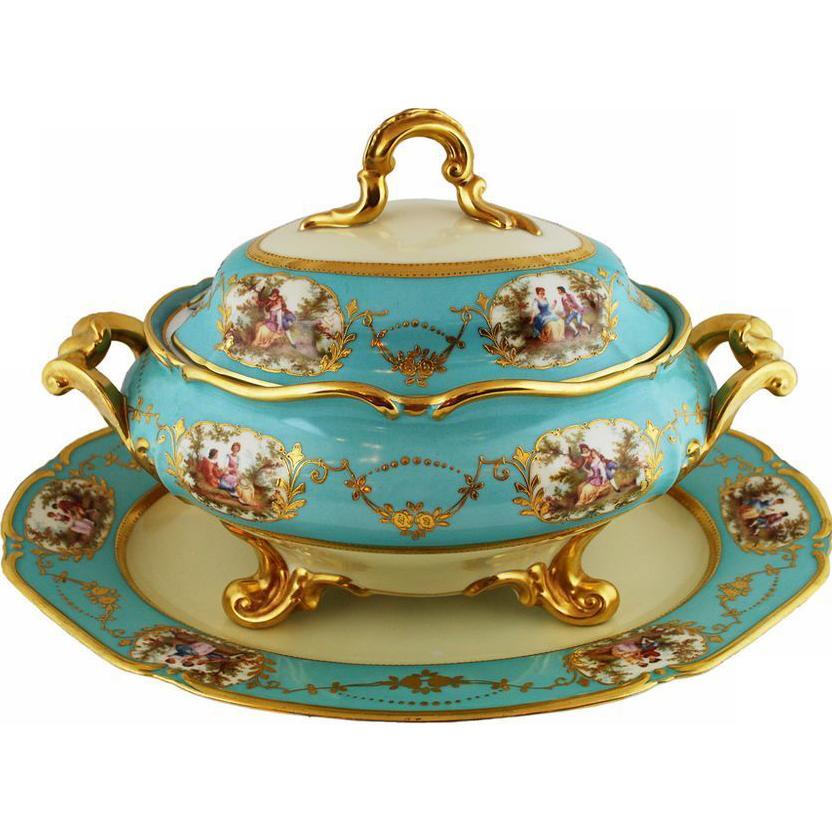 Large Vintage Porcelain Tureen  and Platter Set Celeste Blue Aqua Gold