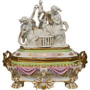 Antique  Old Paris Porcelain Jewelry Box Casket with Parian Figural Group Top