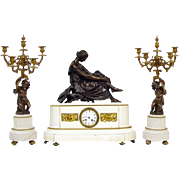 Antique French Marble Bronze Clock Set Garniture ca 1860, Pradier sculpture