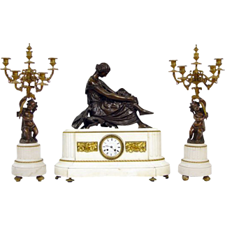Antique French Marble Bronze Clock Set Garniture ca 1860, Pradier sculpture