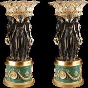 Pair Vintage Gilt Bronze Malachite Centerpieces Urns Jardinieres Style Pierre Philippe Thomire Three Graces Large