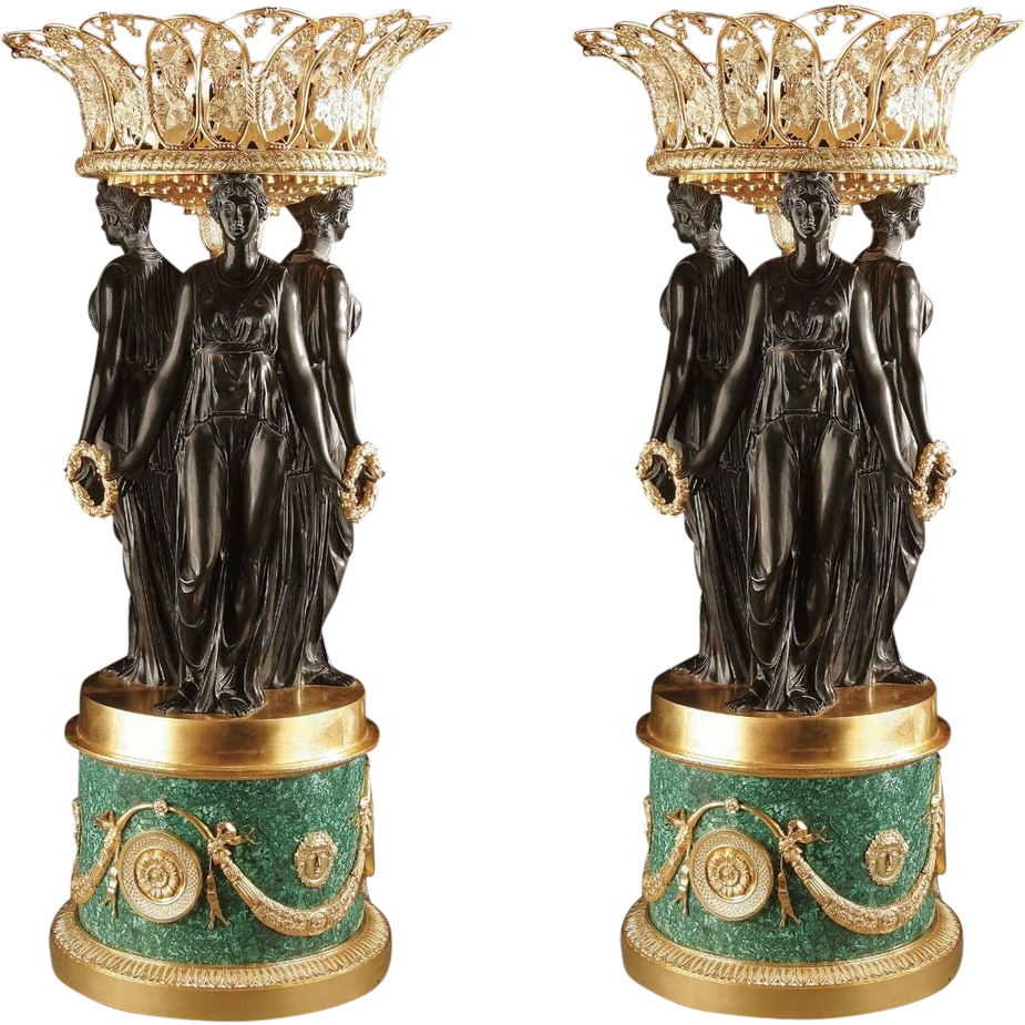 Pair Vintage Gilt Bronze Malachite Centerpieces Urns Jardinieres Style Pierre Philippe Thomire Three Graces Large