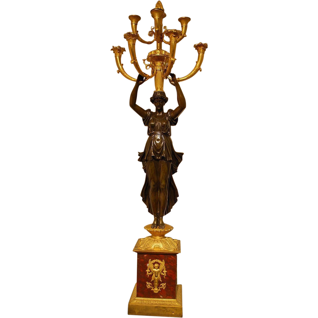 Antique French Empire Ormolu Gilt Bronze Candelabra Candelabrum Centerpiece, sined Rabiat