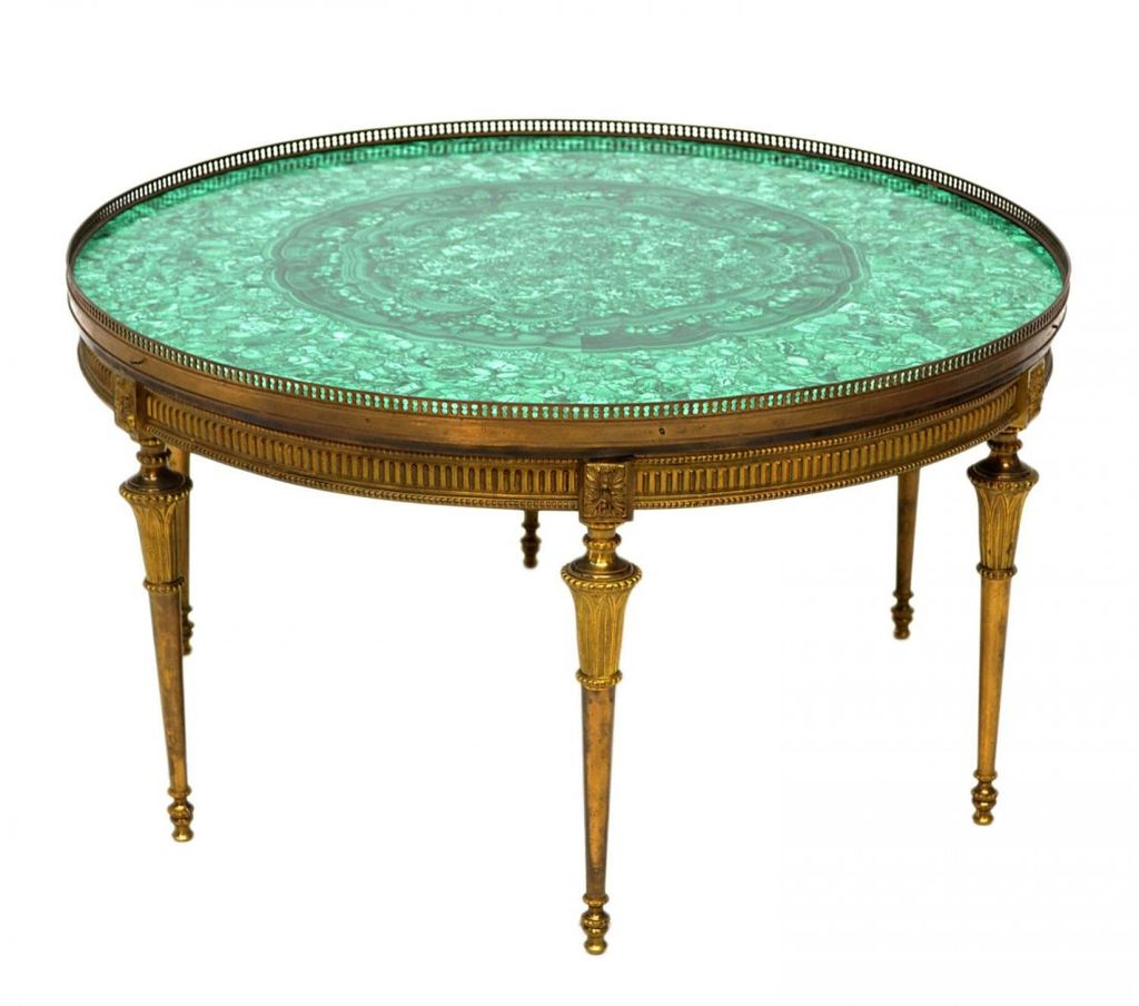 Vintage malachite brass coffee table round from raritetantique on ruby lane Brass round coffee table