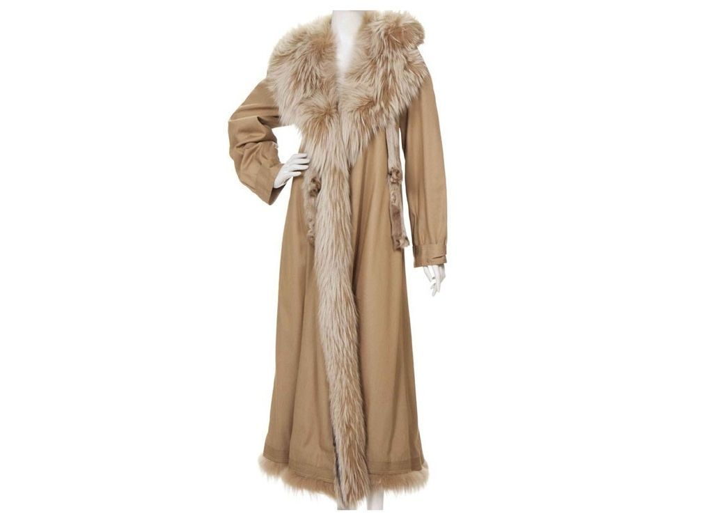 Vintage Fendi Coat, Italy Fox Fur Collar and Treatment, size Large L