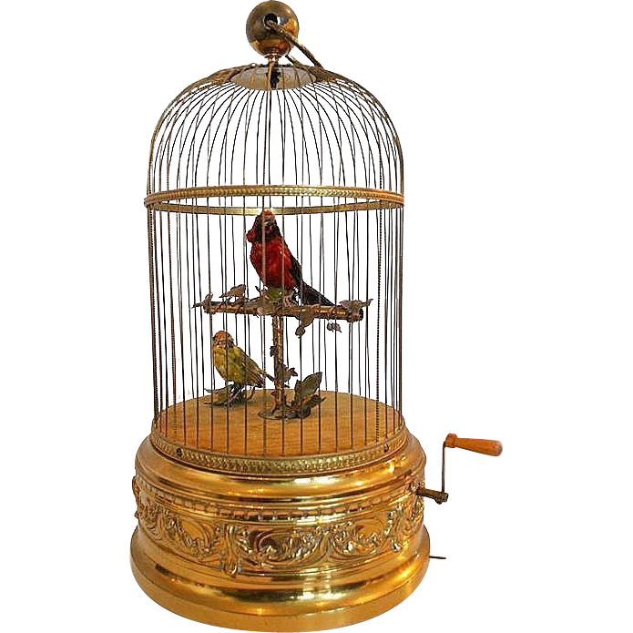 "Antique Bontems Singing Birds Cage Automaton Musical Box 20"" high- needs adjustment"