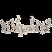 Antique Capodimonte Centerpiece 7 Dancing Figurine Set Surtout-de-table Blanc de Chine