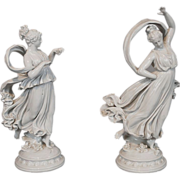 Antique Pair of White Porcelain Capodimonte Maiden Dancing Figures Figurines Blanc de Chine