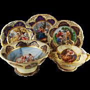 Antique partial dinner set service Royal Vienna Style by Pauly Venezia
