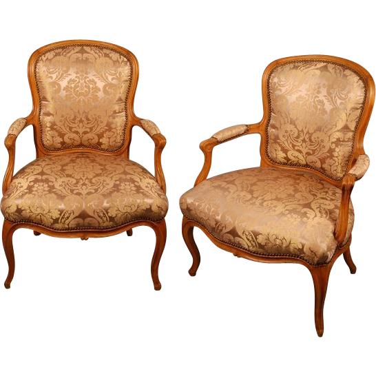 Pair French Antique Armchairs Fauteuils, Louis XV damask upholstery - Pair French Antique Armchairs Fauteuils, Louis XV Damask