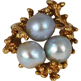 Vintage 14K Gold Grey Pearl Ring Free form