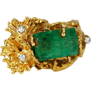 Vintage 18K Gold Diamond Emerald Ring Freeform