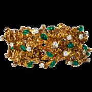 Amazing Vintage Free Form Abstract 14K Gold Diamond Emerald Bracelet