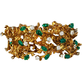 Amazing Vintage Free Form Abstract 14K Gold Diamond Emerald Bracelet