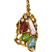 Arthur King Jewelry FreeForm Pendant Brooch 18K Gold Diamond Ruby 60s