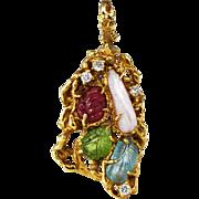 Arthur King Jewelry FreeForm Pendant Brooch 18K Gold Diamond Ruby 60s