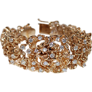 14K Gold Diamond Vintage Freeform Bracelet Freeform Surprise Watch