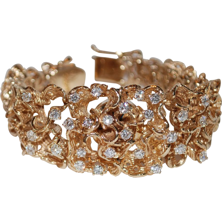 14k Gold Diamond Vintage Freeform Bracelet Surprise Watch