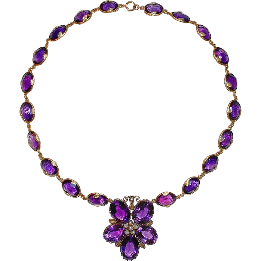 antique amethyst gold necklace flower from raritetantique