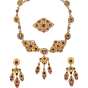 Antique 18K Gold Garnet Parure Necklace Earrings Brooch Garniture Cannetille Set ca 1830