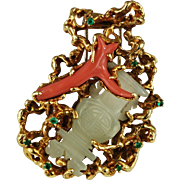 18K Gold Abstract  Brooch Arthur King Jewelry Freeform Jade Coral Vintage