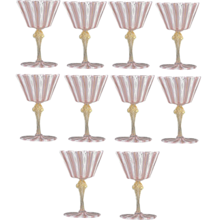 Set of 10 Vintage Venetian Glass Goblets Latticino Wine Water Stem