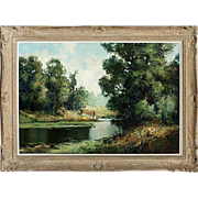 Vintage Landscape Oil on Canvas Painting Ingrfried Henze/Paul Morro