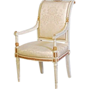 Vintage French White Gilt Painted Armchair Jansen Style