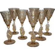 Set of 6 Venetian Glass Liquor Stemware Swans