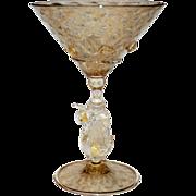 Vintage Venetian Glass Martini , Murano Stem Swan 1 of 3